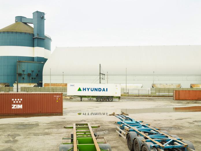 Grain silo, container, Antwerp Harbor, Belgium