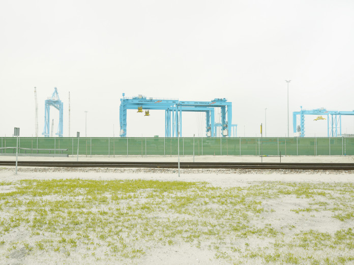 Constructing a new container terminal at Rotterdam Harbor, Netherlands