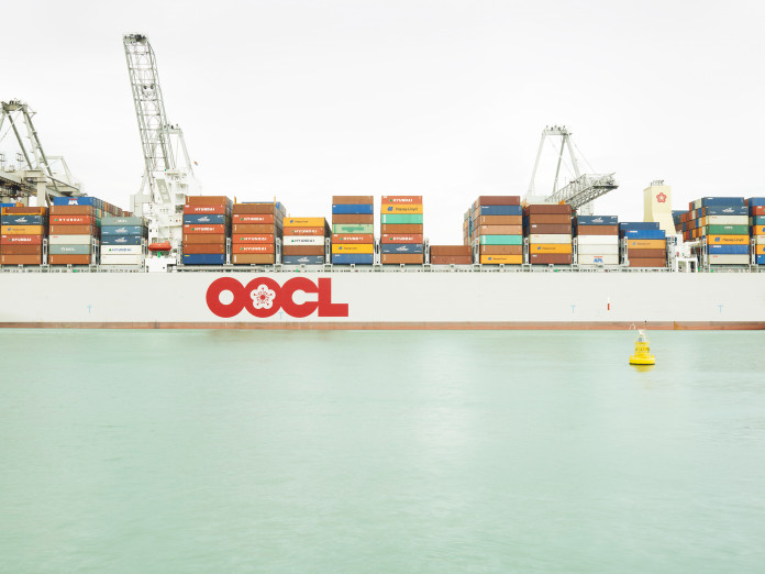 Unloading containers, Rotterdam, Netherlands