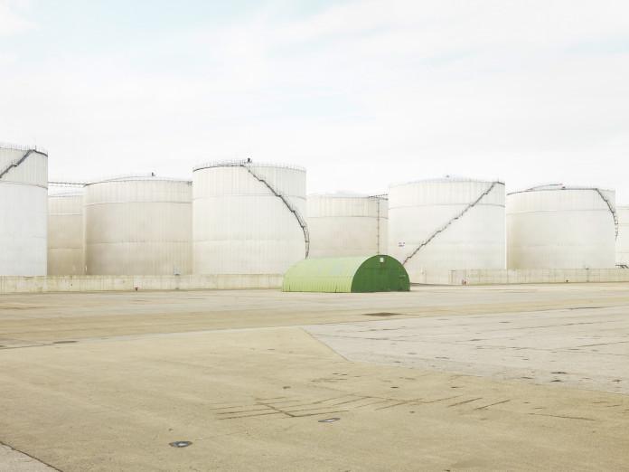 Getreidesilos im Hafen von Antwerpen, Belgien